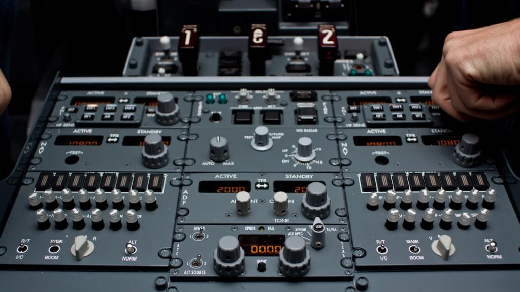 Control panel of the MPS Boeing 737-800w flight simulator