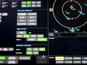 Boeing 737 800 flight simulator screen