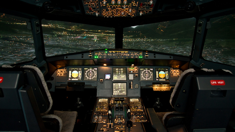 Image of the Cockpit of the MPS EASA Level 1 Approved A320 Simulator